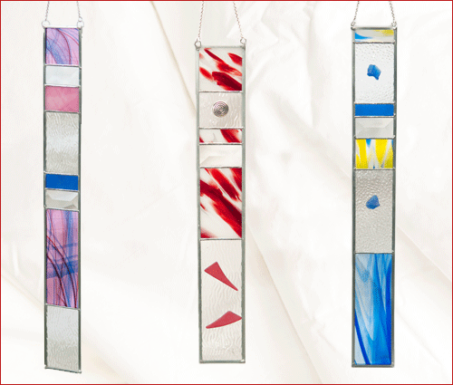 blue, red, purple art strips