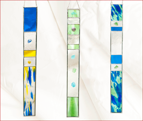 blue, yellow, green art strips